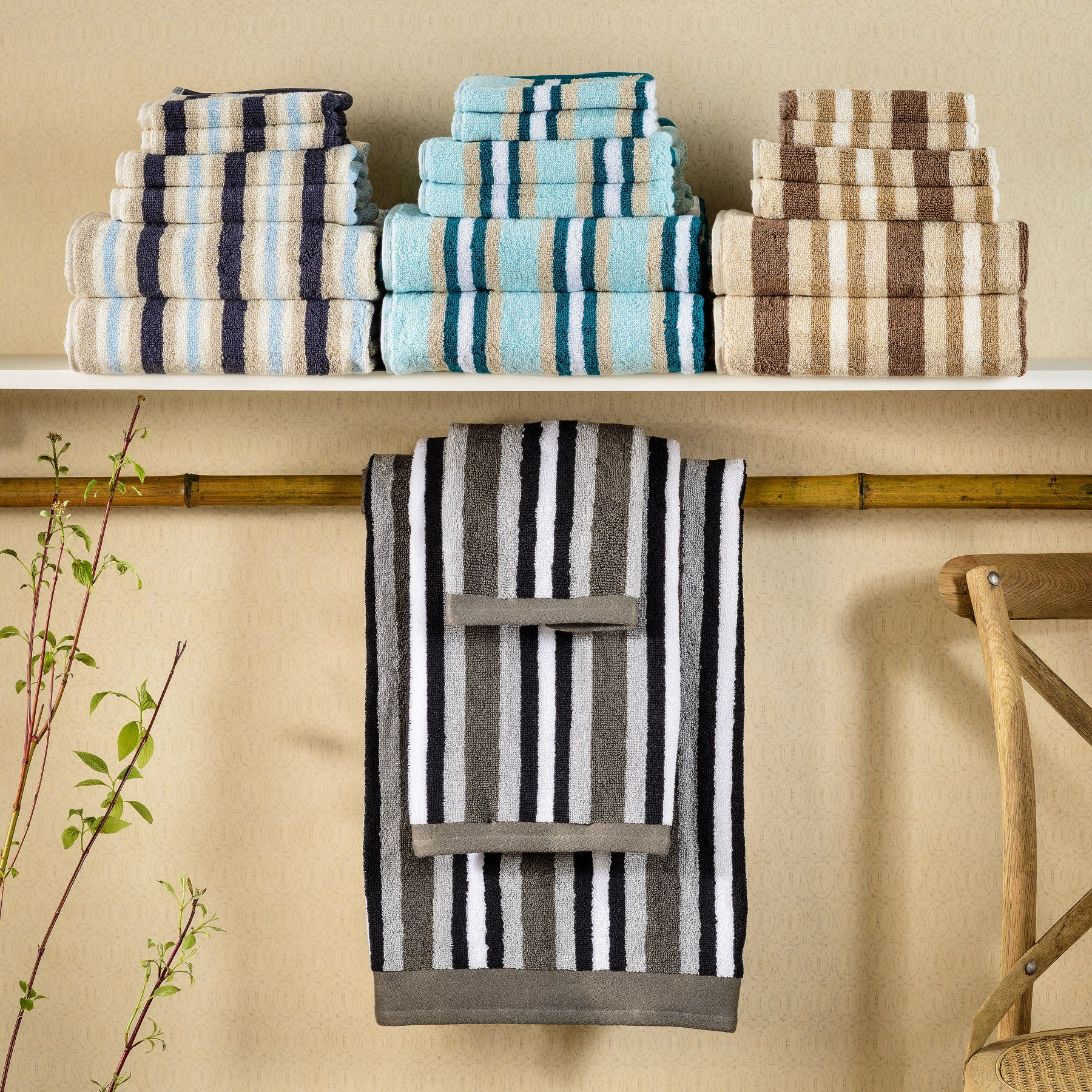 Superior Long-Staple Combed Cotton Loops Stripes 2 Piece Bath Sheet Towel Set - ST BSHEET BL