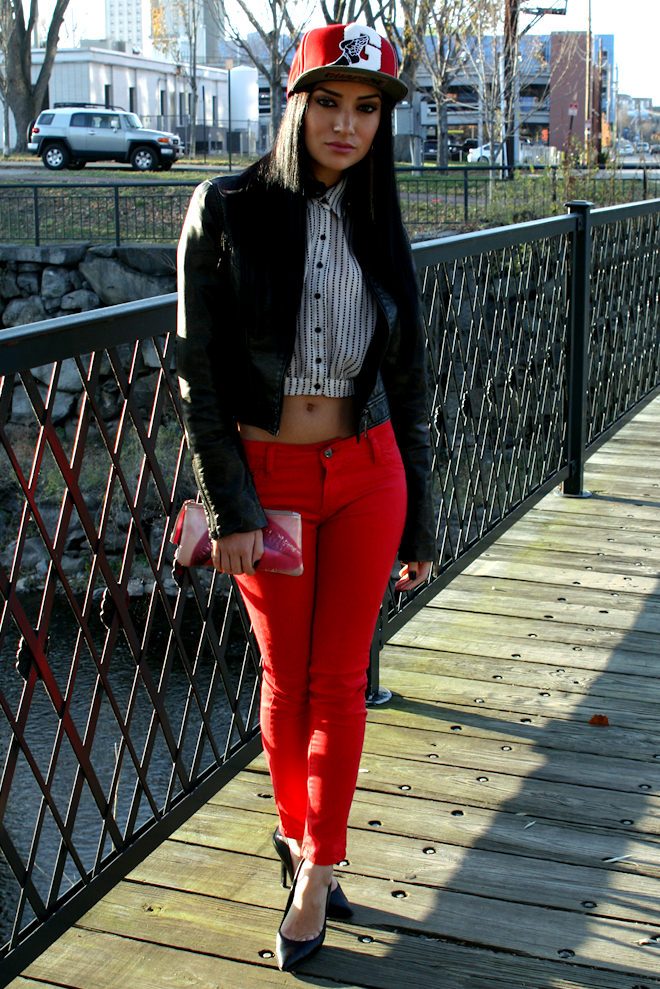 Red Skinny Jeans. Black Leather Jacket. Snapback Outfit