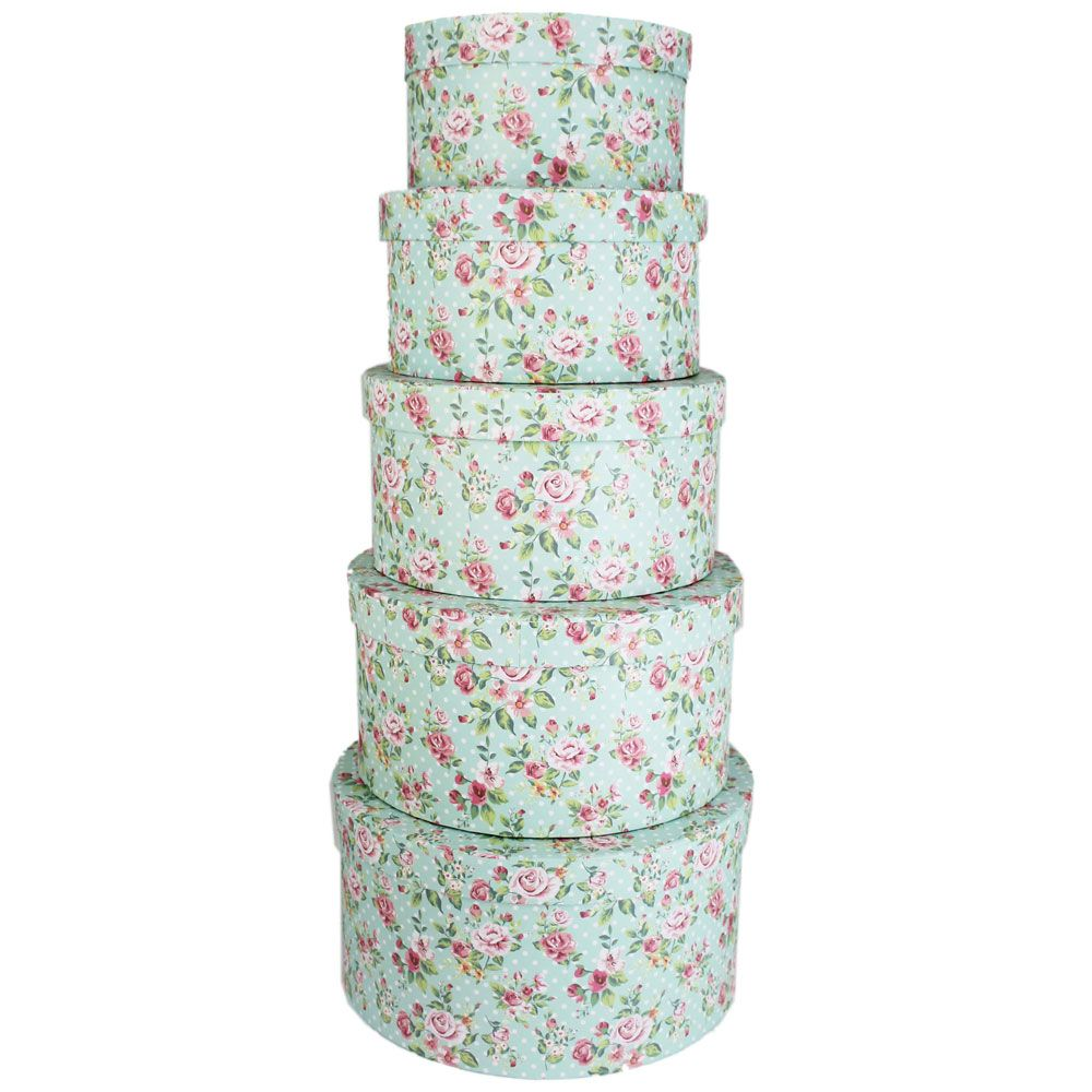 Rose Print Round Storage Suitcases Set Of 5