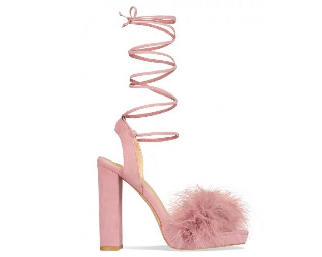 5e5b97f460e3d Saffron Dusty Pink Suede Lace Up Block Heel Faux Fur Heels. We will be  dancing the night away in these furry beauties. Featuring lace ups and a  platform.