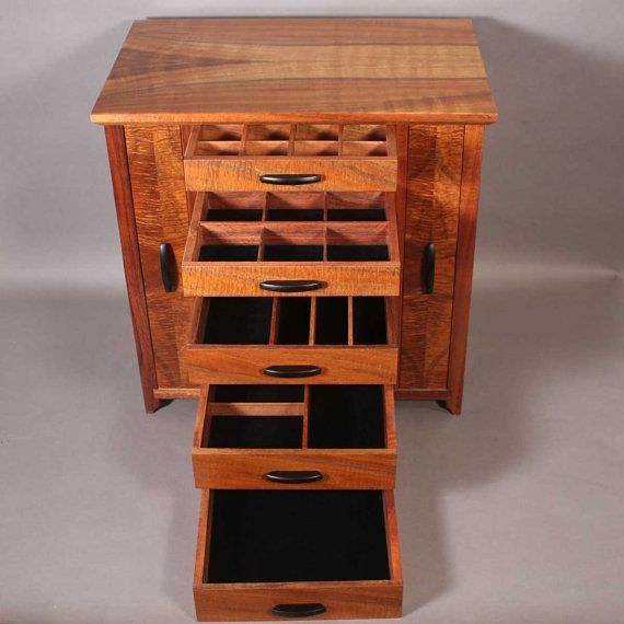 Koa Wood Kitchen Cabinets: Jewelry Cabinet, Earring Storage, Wooden Jewelry Boxes