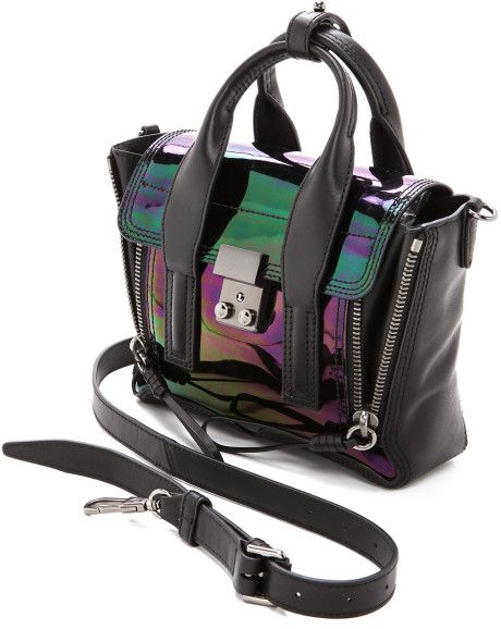 4d210e2722ce 3.1 Phillip Lim Holographic Pashli Mini Satchel Black in Black