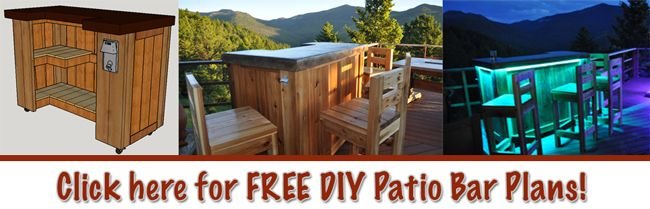 Elegant Free Plans To Build A Patio Bar With A Cedar Base And Acid Stained Concrete  Top With LED Lights.