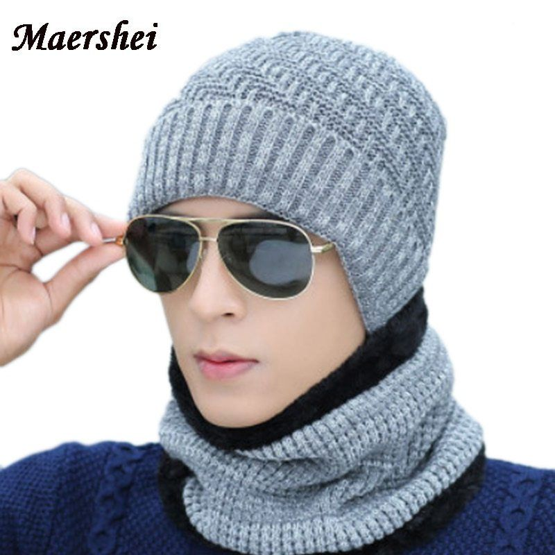 11547504a45 MAERSHEI Winter Hat Skullies Beanies Caps Men Women Knitted Hats Scarf set  Winter Caps Balaclava Mask Hood Cap Wool Fur Hats now available on  Affordable ...