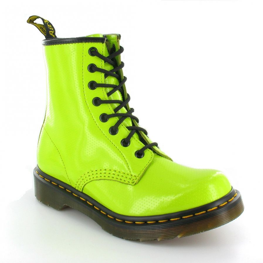 half off b9bd6 d0a87 Dr Martens Dr Martens 1460W QQ Dot Womens 8-Eyelet Ankle Boots - Lime Green  - Dr Martens from Scorpio Shoes UK