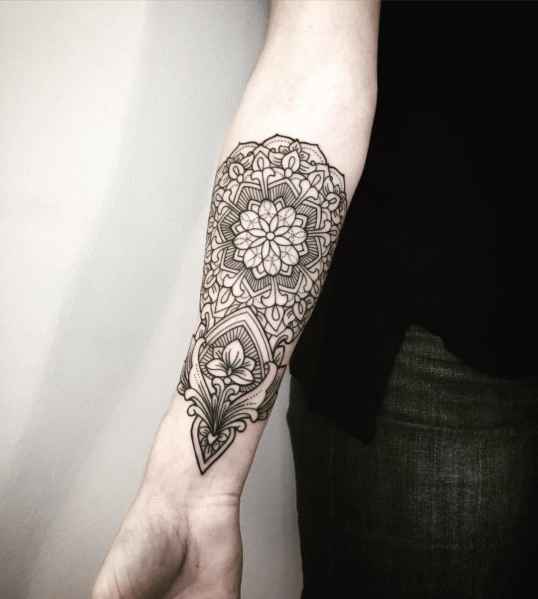 Lower Arm Henna Tattoo: Inside Lower Arm Mandala Pattern Flower Tattoo