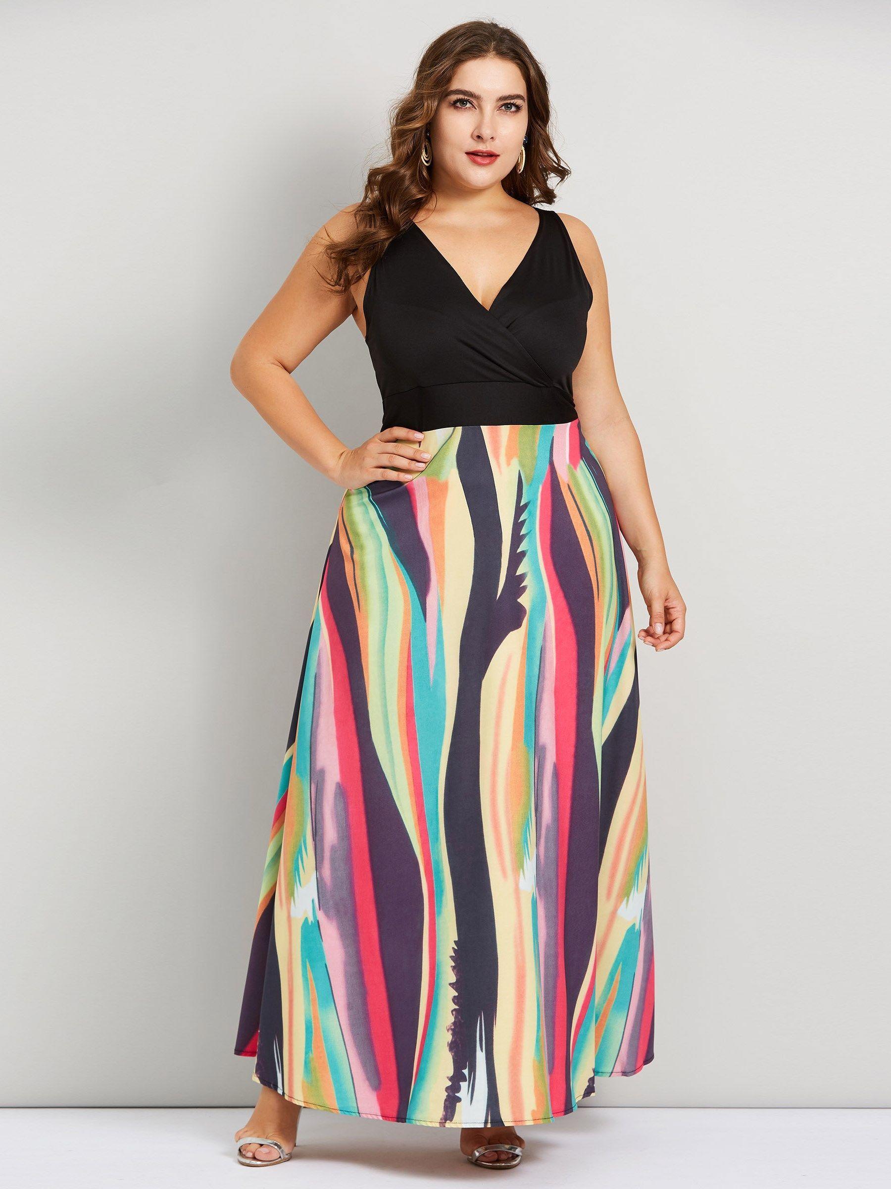 Sleeveless Pullover V-Neck Print Women\'s Maxi Dress | Plus ...