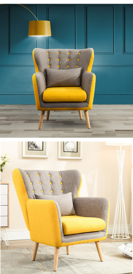 Yellow And Grey Elements Upholstered Armchair Furniture Design Chair Comfortable Living Room Chairs Arm Chairs Living Room