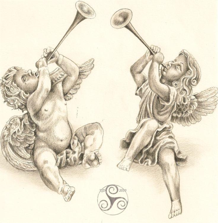 Cherubs with horn | Stuff to Buy | Angel tattoo designs ...
