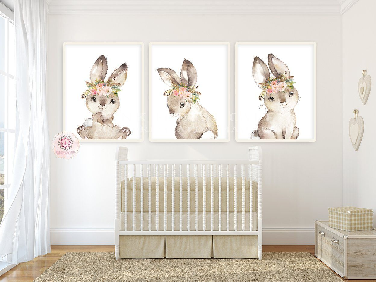 Bedroom Nursery Set Of 3 Prints For Baby Room Forest Animals Pictures