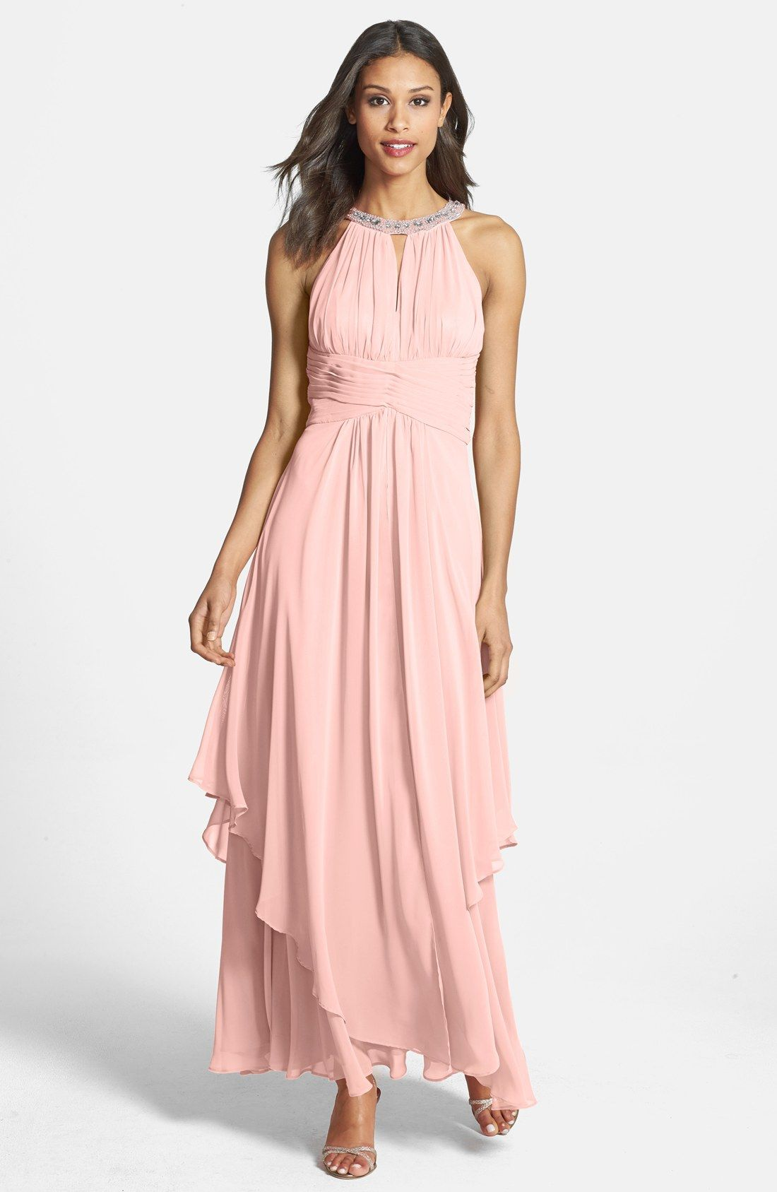 Eliza J Embellished Tiered Chiffon Halter Gown | Nordstrom | Tim and ...
