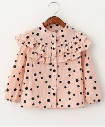 Sweet Long Sleeve Stand-Up Collar Ruffled Polka Dot Shirt For Girls in Pink | Sammydress.com Mobile