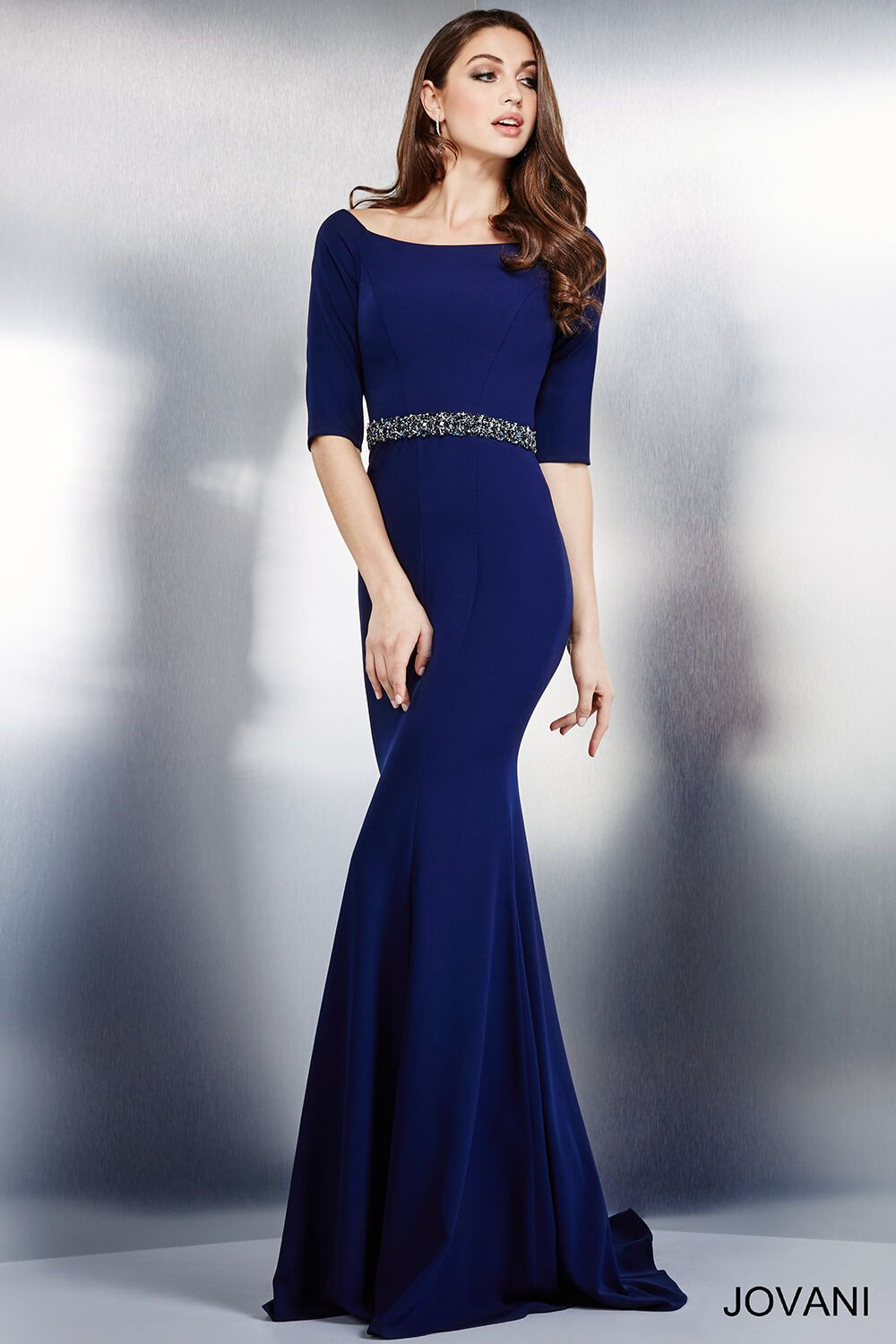 Stunning navy ponte knit evening gown with three quarter sleeves ...