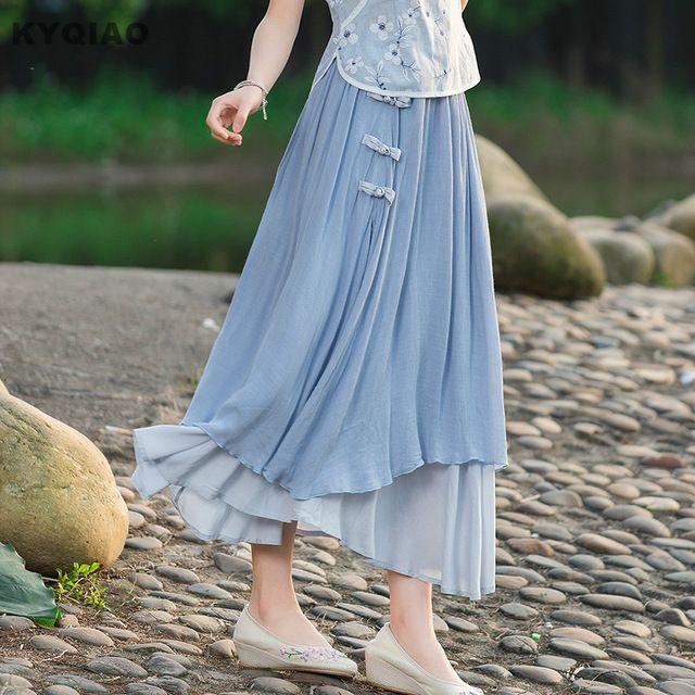 Kyqiao étnico falda 2017 de las mujeres del verano vintage largo azul  blanco hecho a mano rana asimétrico falda de midi vestido tradicional chino 07a7d8912829