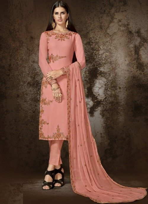 b1536fe608 Redefined pink designer straight cut suit online which is crafted from  georgette fabric with exclusive embroidery and stone work.