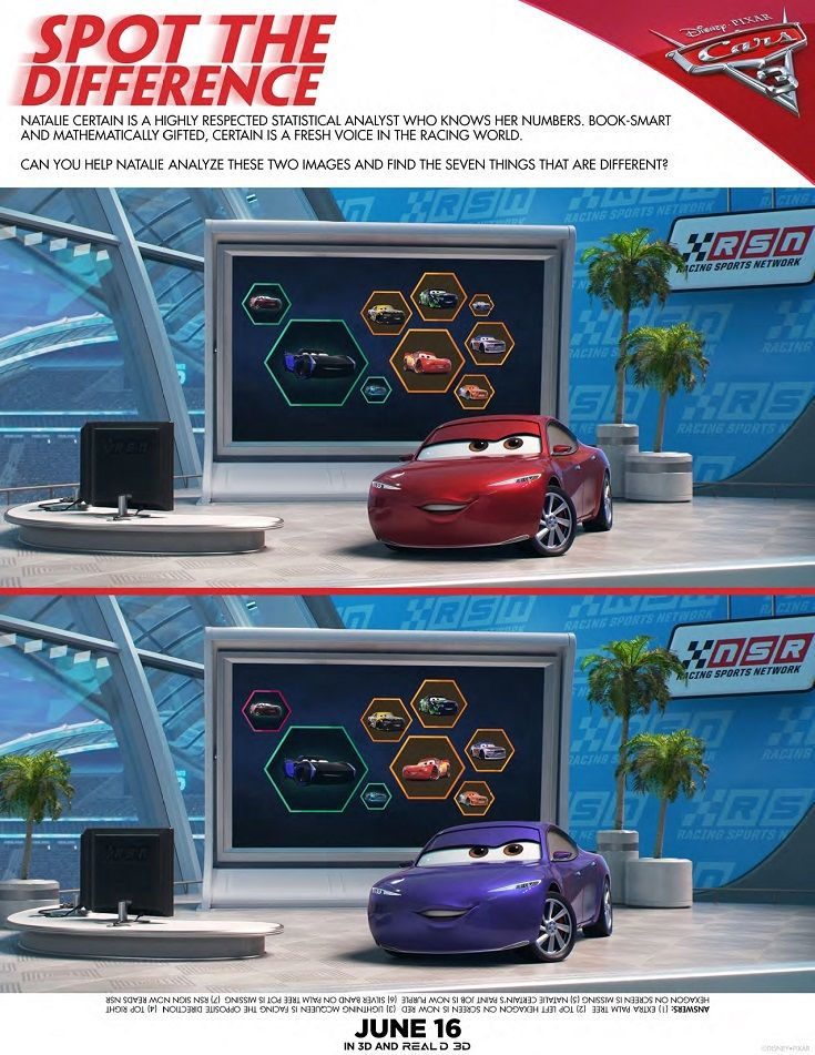 Cars 3 Activity Sheets Maze Race Memory Game Spot The