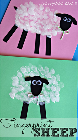 fingerprint sheep craft great for farm unit speech crafts
