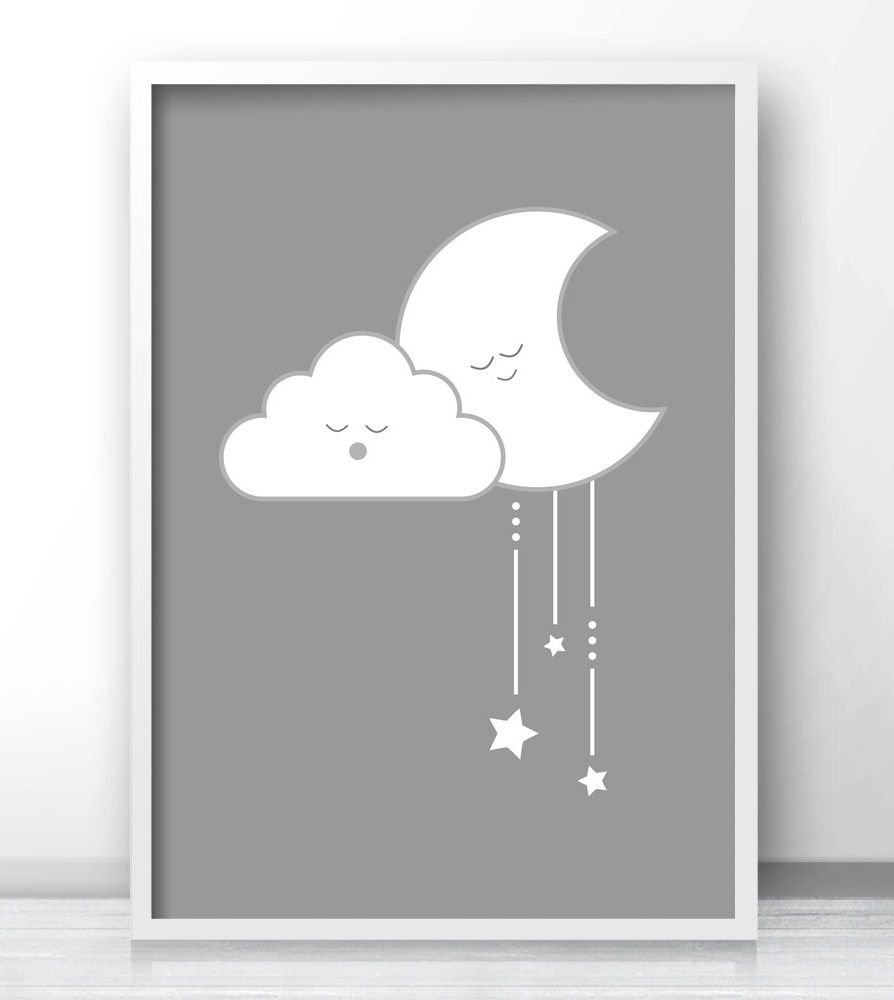 Gray Nursery Wall Art, Gender Neutral Baby Wall Art Printables, Cloud  Nurseryu2026