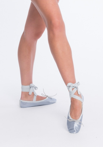 Satin Workout Slippers with Ribbons in