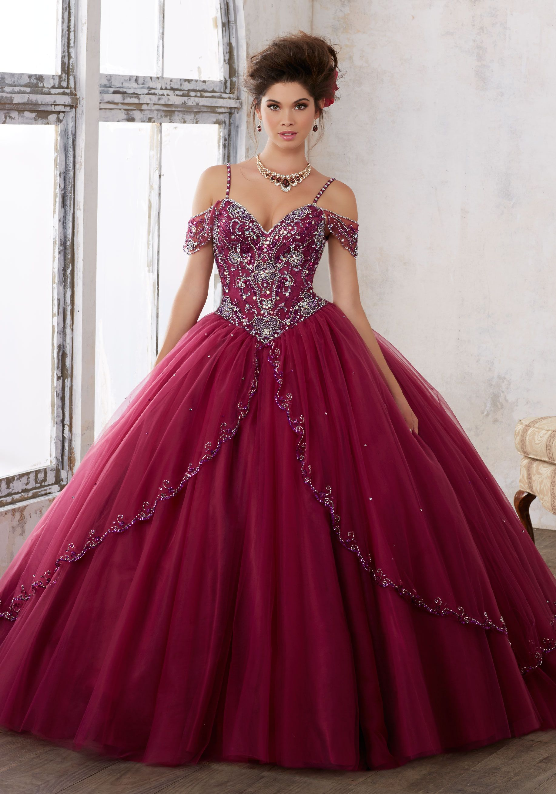 22a4210647 Morilee Quinceanera Dresses STYLE NUMBER  89135 Jeweled Beading on a Split  Front Tulle Ballgown Dramatic and Elegant