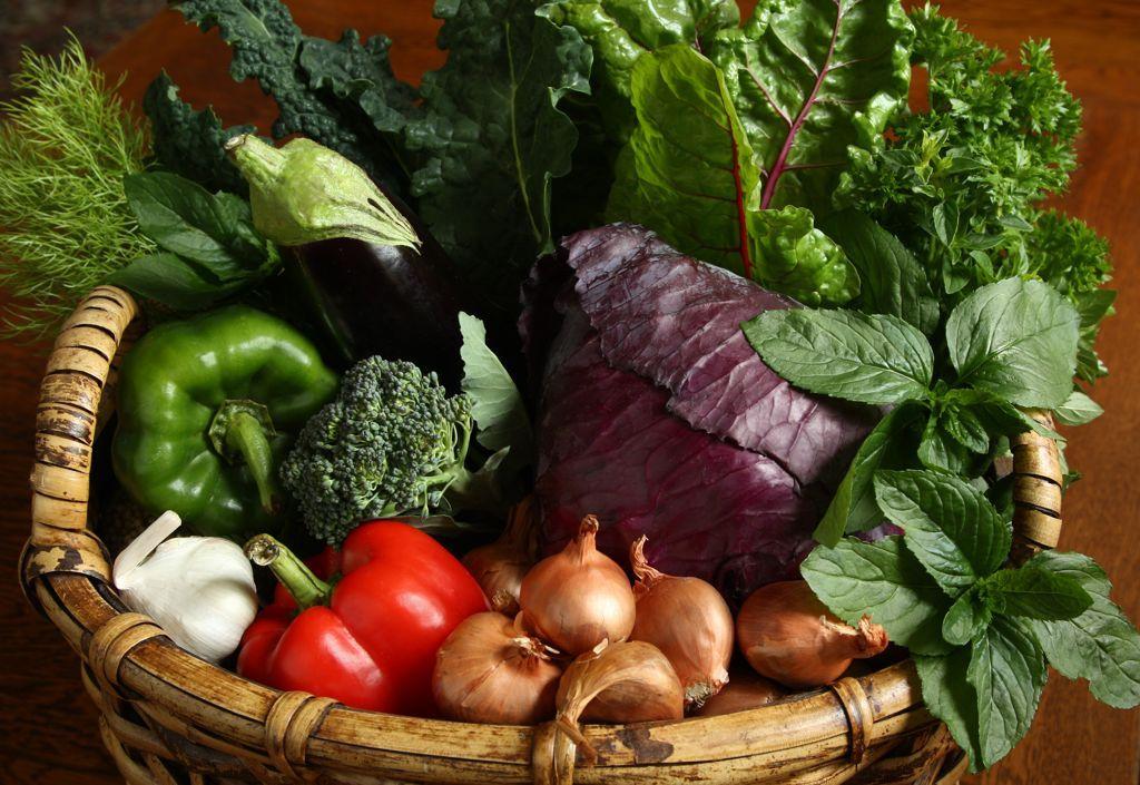 Basket of fresh organic veggies by kathy reid organic
