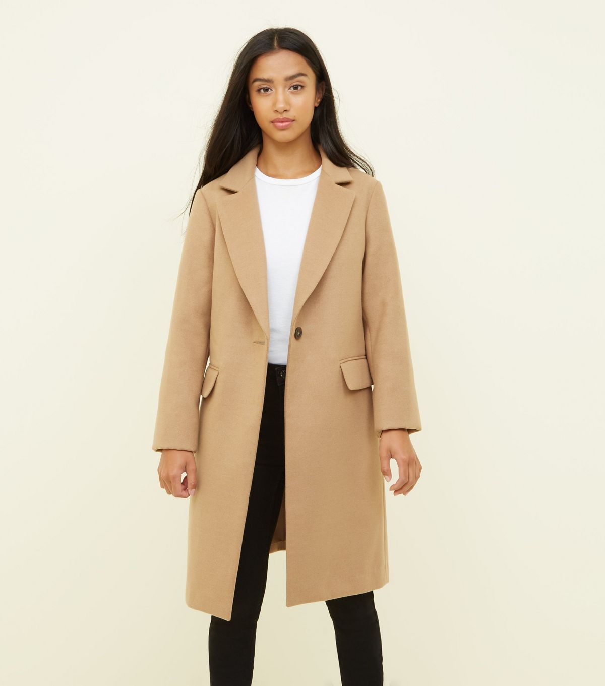 Manteau long camel new look