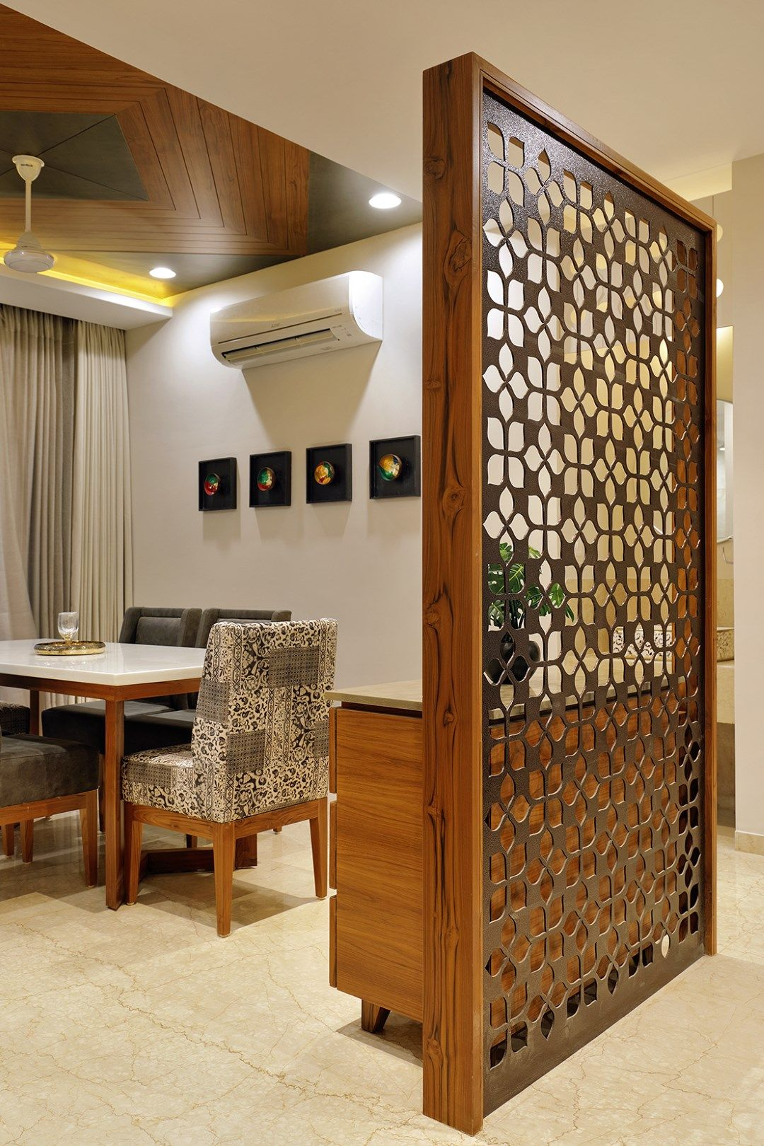 Floral Pattern Inspires Apartment Interiors Room Partition