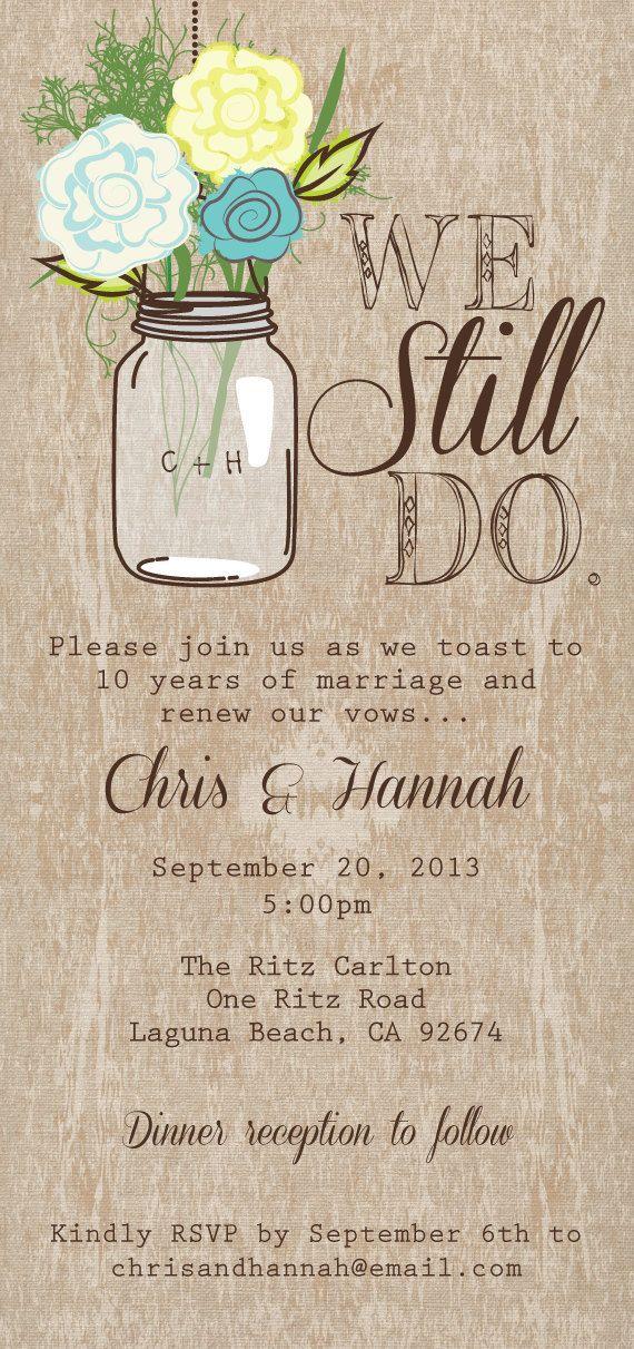 Mason Jar Printable Invitation Rustic Wedding Program Vow Renewal On Etsy