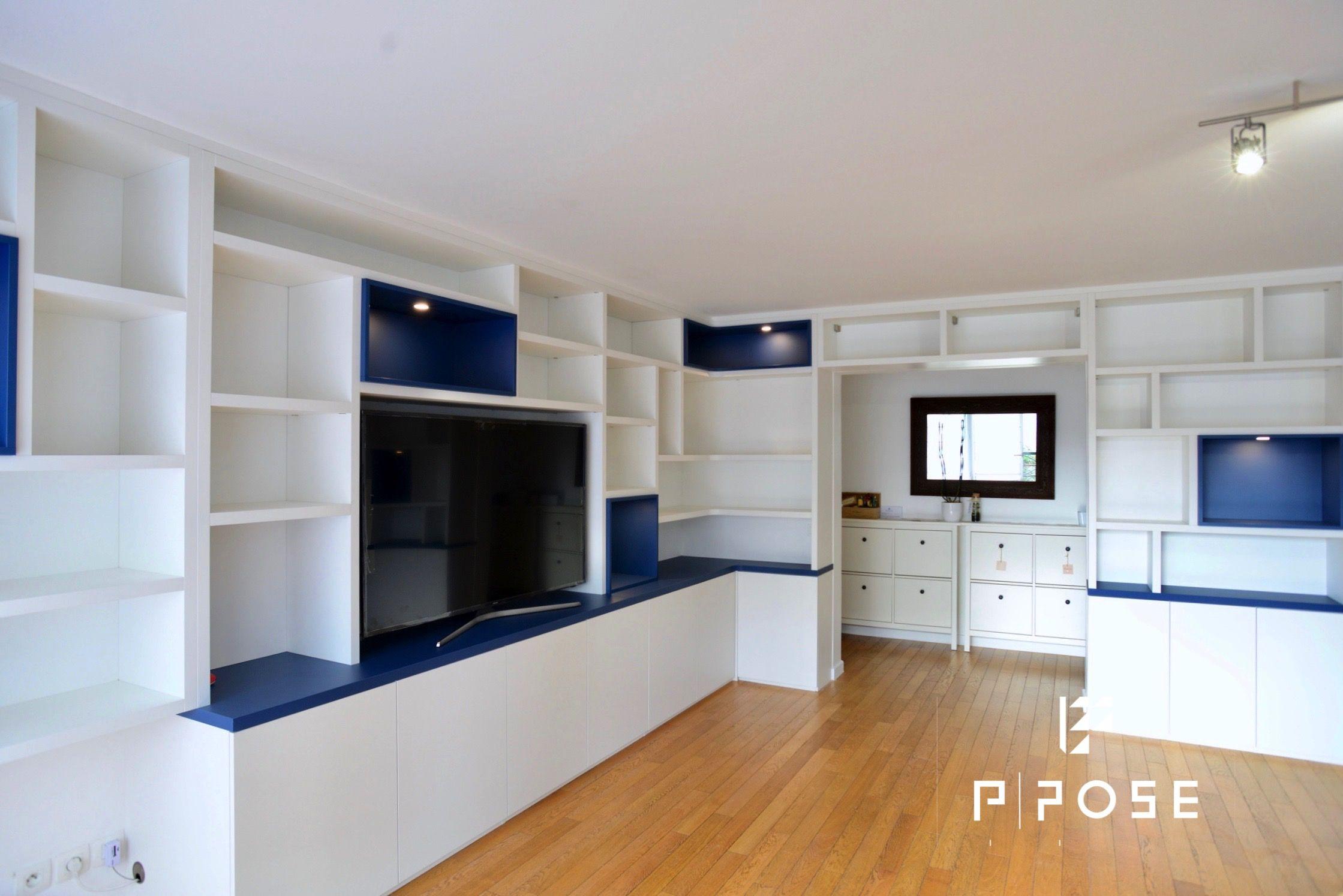 Bibliotheque Et Meuble Tv En Melamine Blanc Porcelaine Avec Niches