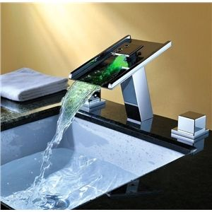 Bathroom Sink Faucets - Contemporary Waterfall Color Changing Bathroom Sink  LED Faucets 961116f78b4b