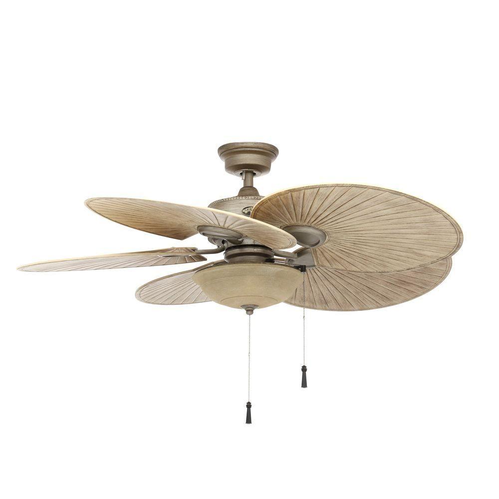 Hampton Bay Havana 48 In Indoor Outdoor Cambridge Silver Ceiling Fan With Light Kit 51328 In
