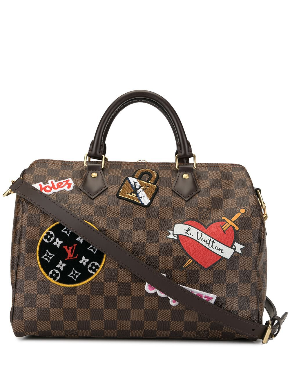 Louis Vuitton Pre Owned Patches Speedy Bandouliere 30 2way Bag Brown Louis Vuitton Louis Vuitton Speedy Bag Speedy Bandouliere 30