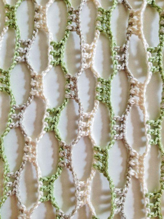 Naturaleza corazón perlas ganchillo bufanda por GabyCrochetCrafts ...