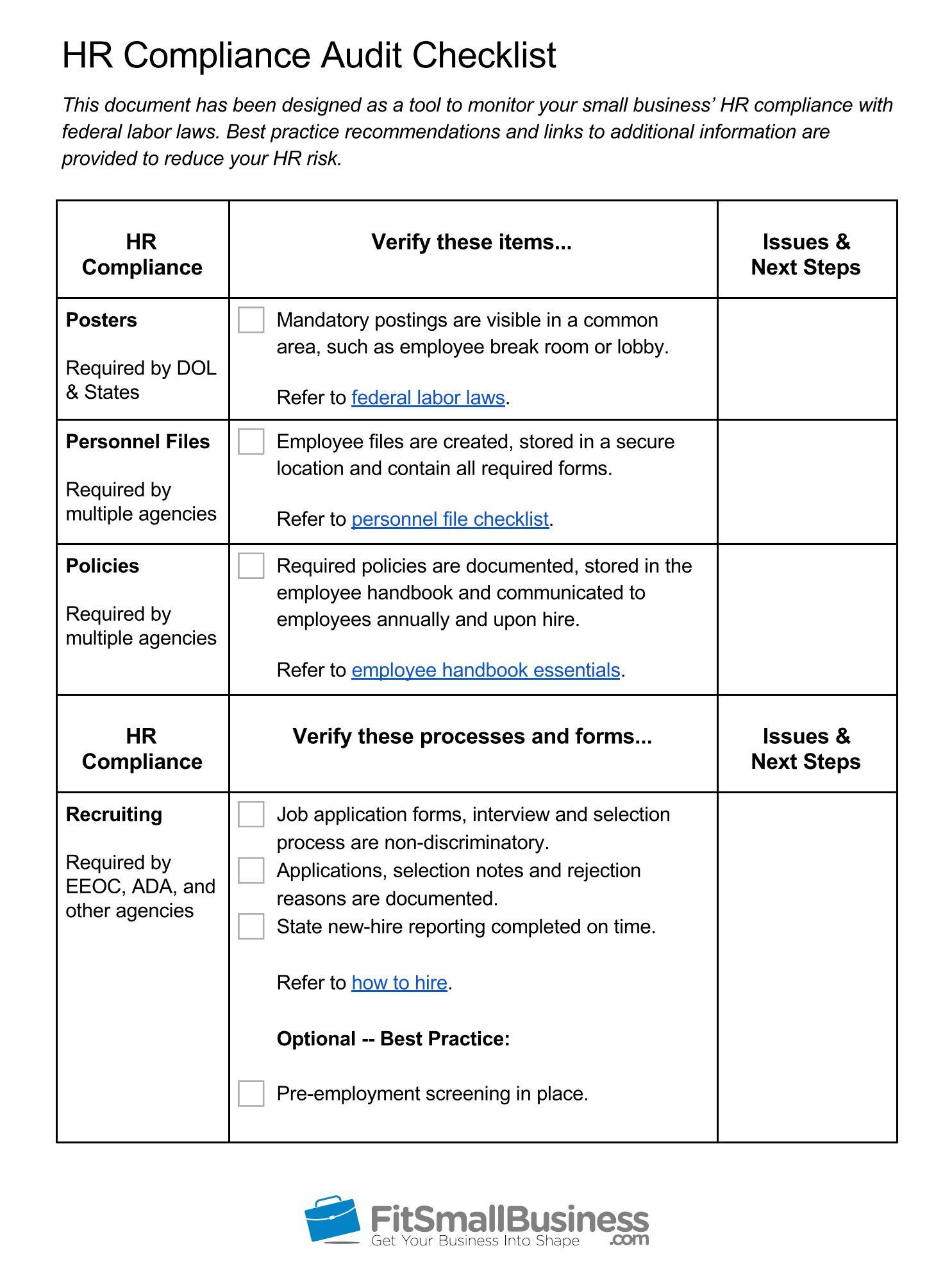 Hr Compliance Definition Free Hr Audit Checklist With