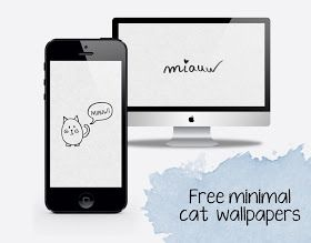 Curly Made: Free minimal cat wallpapers