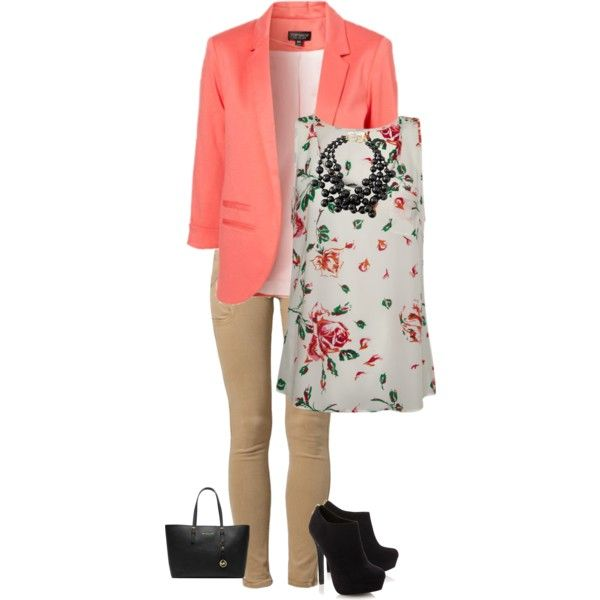 """""""Fancy: Coral Blazer"""" by theresek4444 on Polyvore"""