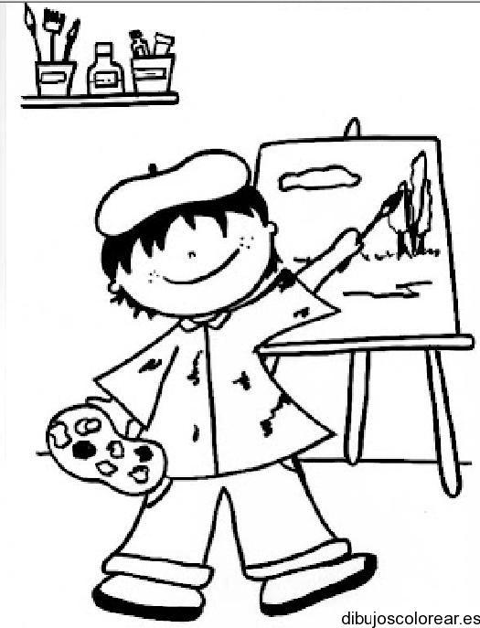 Dibujos Para Colorear 44 Nino Pintor Pintor Dibujo Pintor
