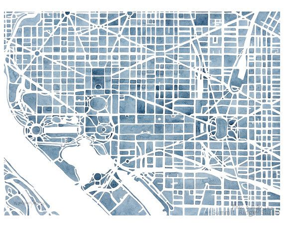 Washington Dc 8x10 Blueprint City Map Print Decor By