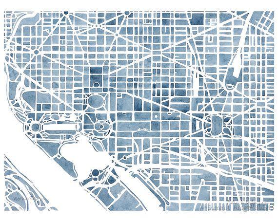 Washington DC 8x10 Blueprint City Map Print Decor City maps - fresh blueprint paper name