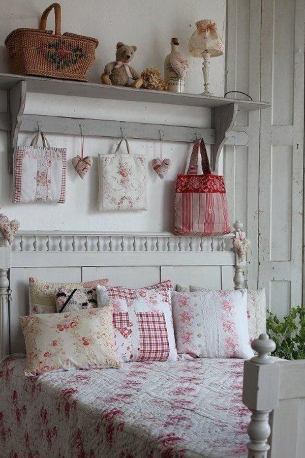shabby chic schlafzimmer wanddeko wandregal garderobenhaken - deko für schlafzimmer