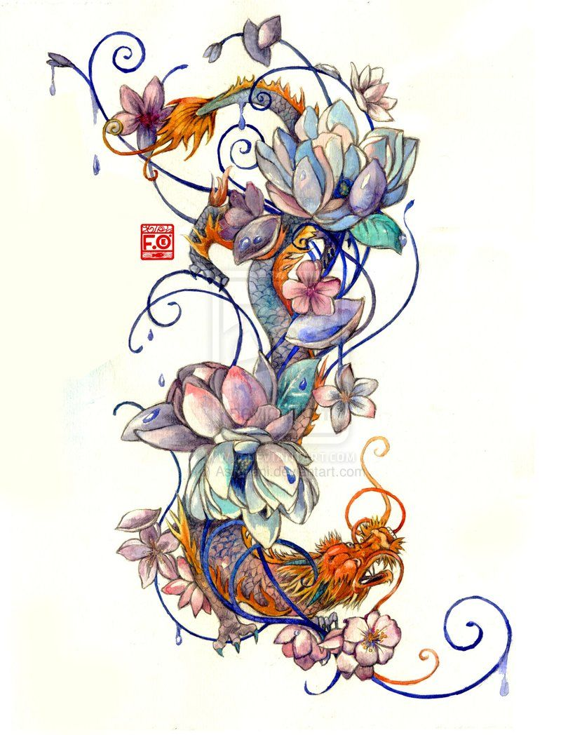 Tattoo Commission By Asfahani On Deviantart Dragon Tattoo Designs Tattoos Lotus Tattoo Design