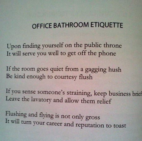 Funny Office Bathroom Etiquette By Michelle Burleson Office