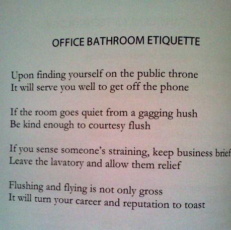 Funny Office Bathroom Etiquette Signs Homyracks