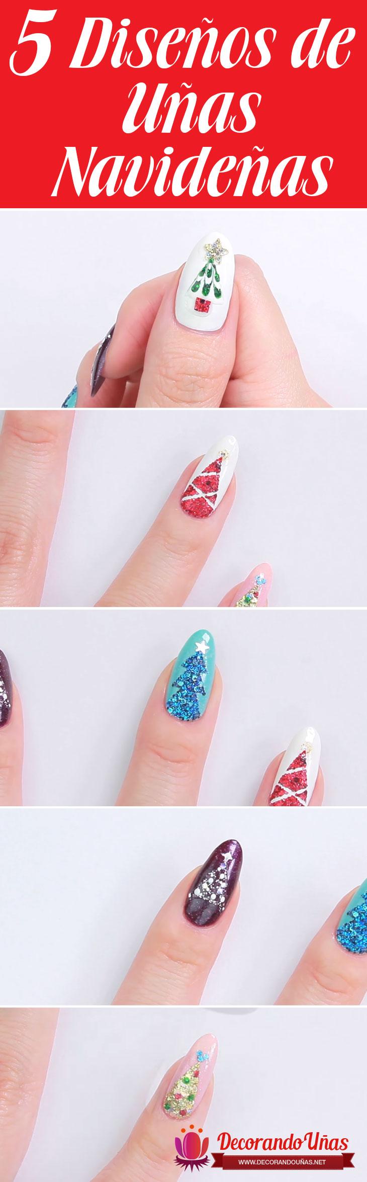 5 Formas fáciles de decorar tus uñas con árbol de navidad ...