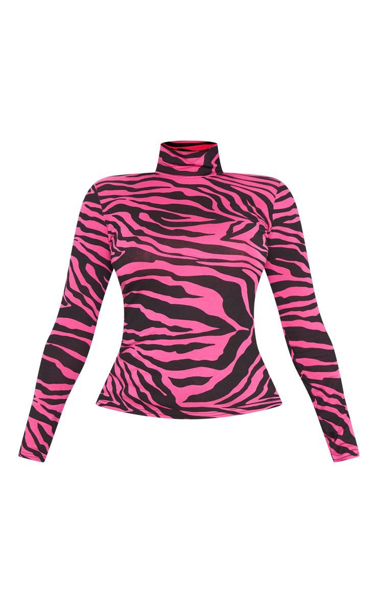 on feet shots of special for shoe limited guantity Neon Pink Zebra Printed High Neck Top | Zebra print, Pink zebra ...