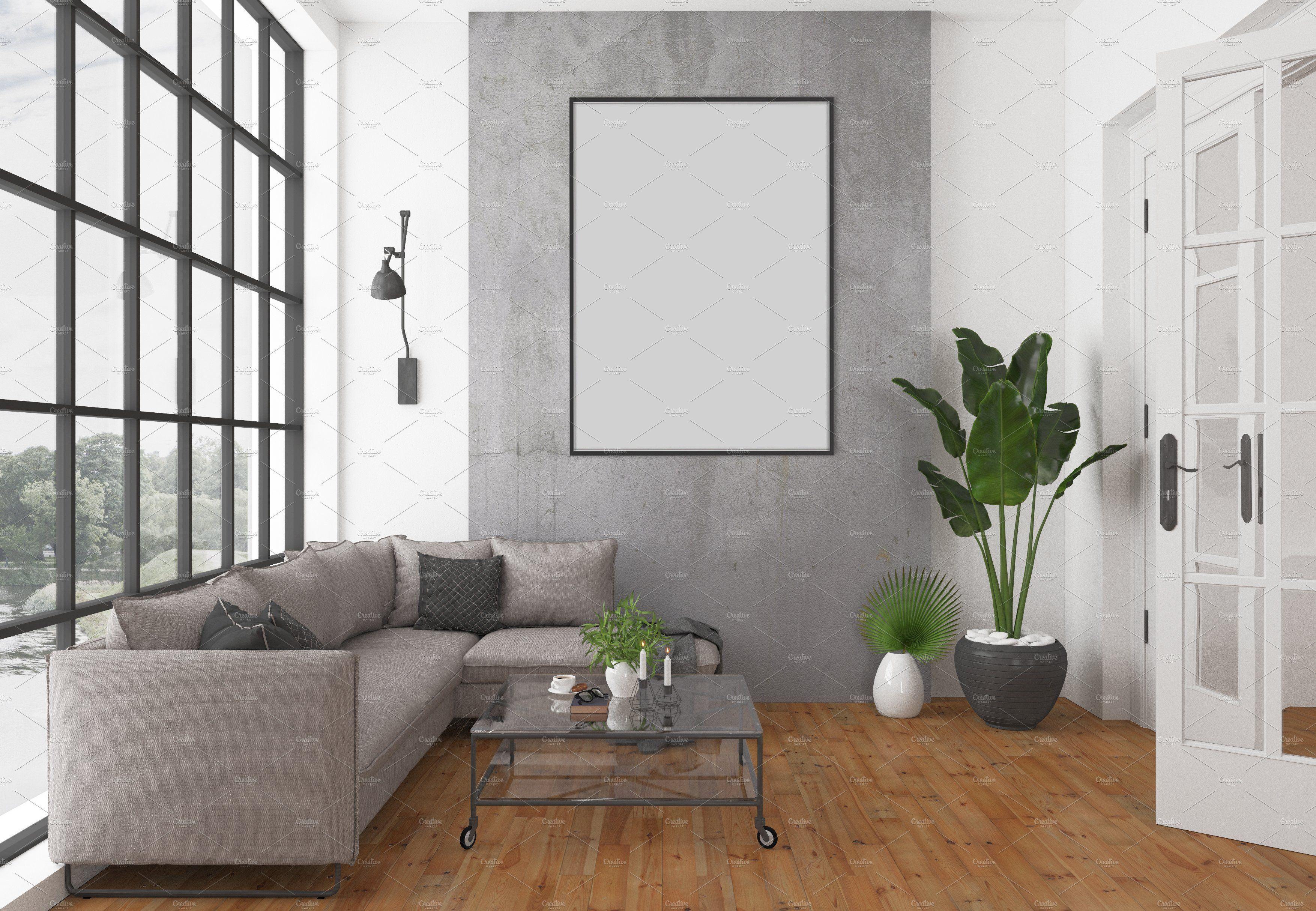 Blank Wall Mockup Black Frame Art Living Room Interior Room Poster Artwork Canvas New York City Loft Horizontal Vertical Frame Bundle
