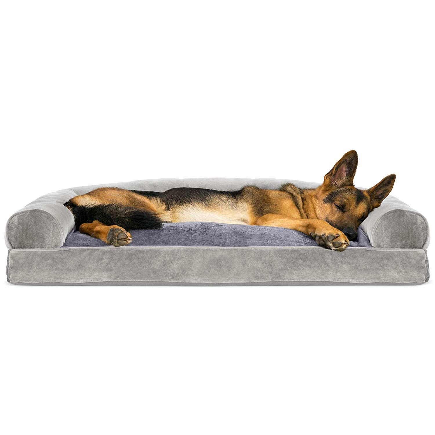Furhaven Pet Dog Bed Faux Fur Velvet Pillow Cushion Traditional Sofa Style Living Room Couch Pe Dog Pet Beds Animal Pillows Dog Pillow Bed