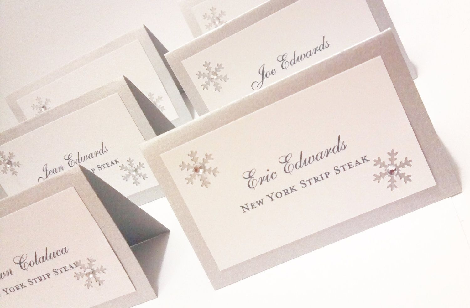 Escort Cards Winter Wedding Snowflake Place Cards Tented