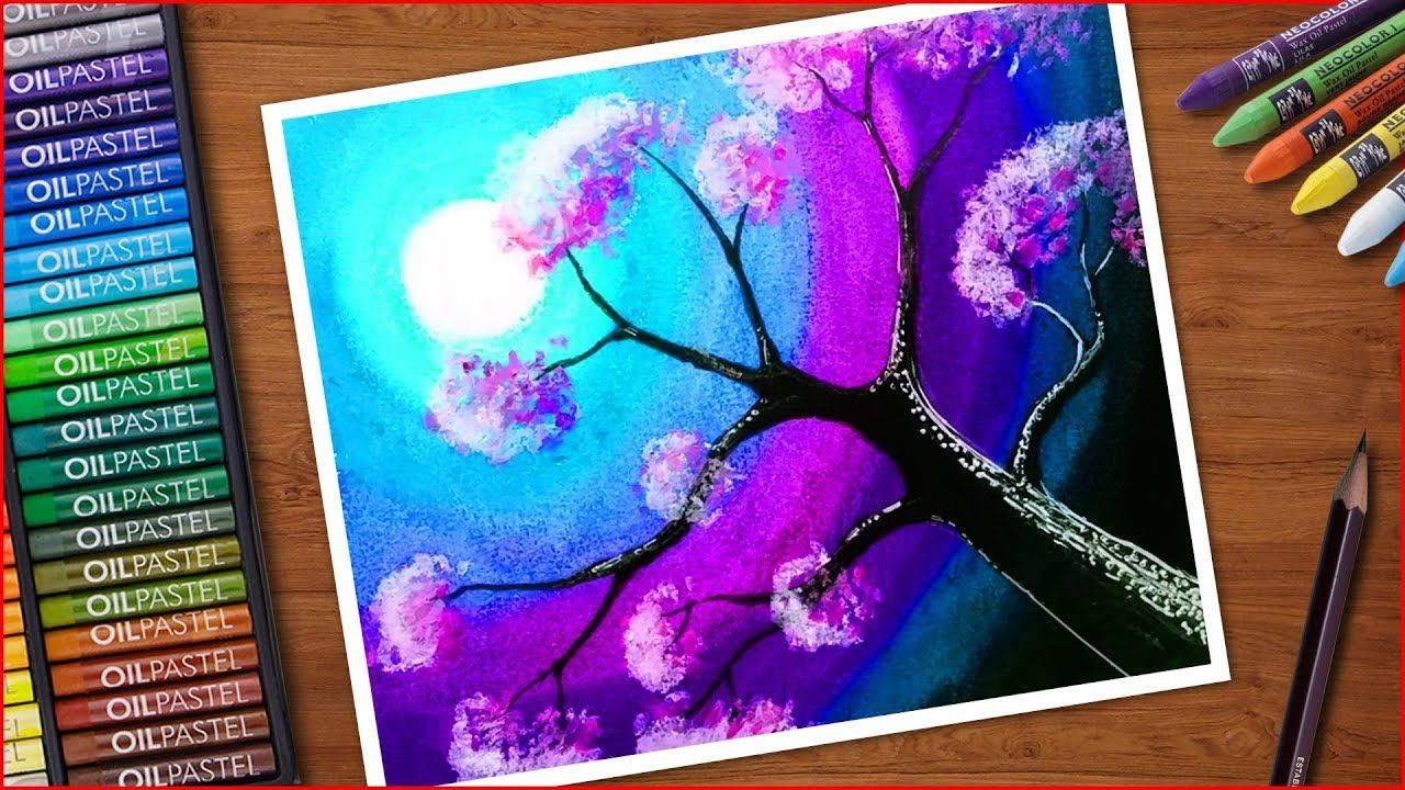 Flowers Tree Drawing With Oil Pastels Nature Scenery Painting Very E In 2020 Oil Pastel Art Oil Pastel Scenery Paintings