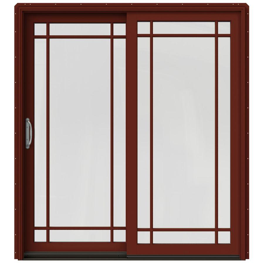wood sliding patio doors. JELD-WEN W-2500 71.25-in Grid Glass Mesa Red Wood Sliding Patio Door Screen Included Doors O
